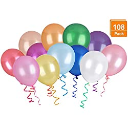 (12 Colors, 108 Pack) Balloons, DealKits 12 Inches Assorted Color Thickened Helium Quality Latex Balloons for Birthday Wedding Party Home Decoration