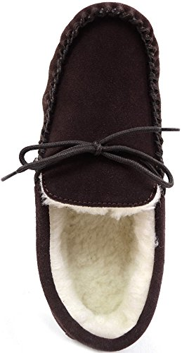 SNUGRUGS Mens Brown Suede Moccasin Slippers with Wool Lining and Suede Sole. Size 13 ts69zI