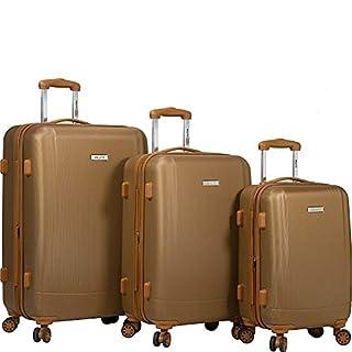 Dejuno Legion 3-pc Hardside Spinner TSA Combination Lock Luggage Set, Coffee, 3-Piece