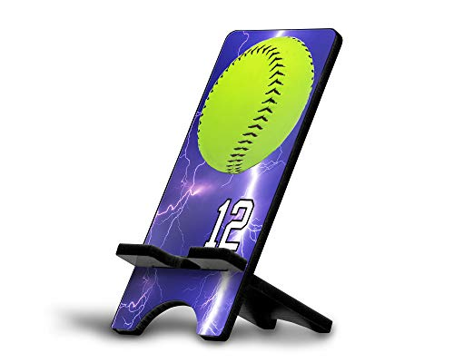 (Cell Phone Stand Softball #S012 Personalized Player Jersey Number On A Universal Docking Charging Station Stand Customized by TYD Designs Number 12)