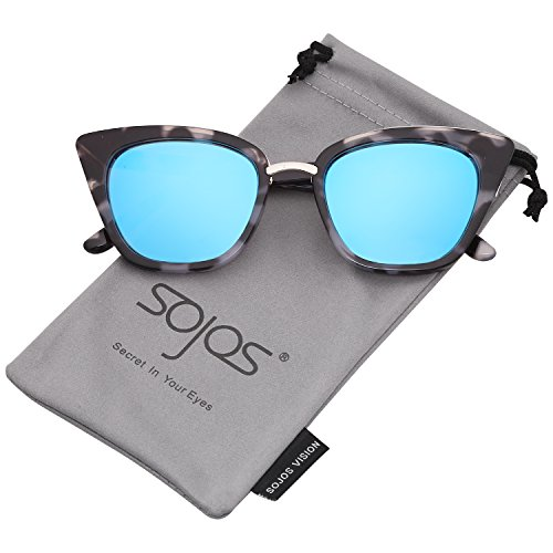 (SOJOS Cat Eye Brand Designer Sunglasses Fashion UV400 Protection Glasses SJ2052 with Blue Tortoise Frame/Blue Mirrored Lens)