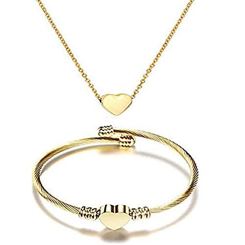 NIBASTAR Heart Jewelry Set Stainless Steel Necklace Bracelet for Women Girls (Gold)