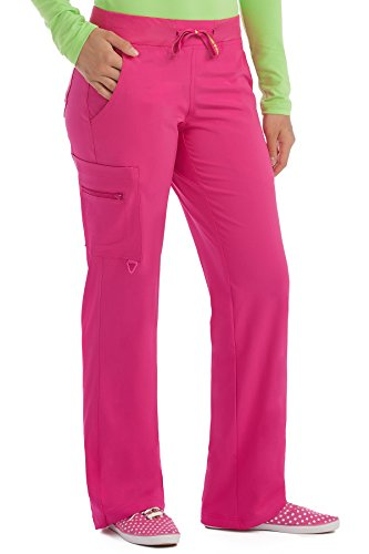 Med Couture Scrub Pants Women, Yoga Cargo Pocket Scrub Pant, X-Large Tall, Pink Punch