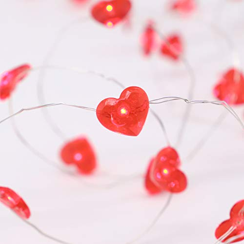 MIYA LIFE Red Heart10 ft 40 LED Copper Wire String Lights for Valentine's Day Gift New Year Décor Anniversary Bedroom Patio Garden Gate Yard Parties Wedding Birthday Festival with Remote & Timer]()