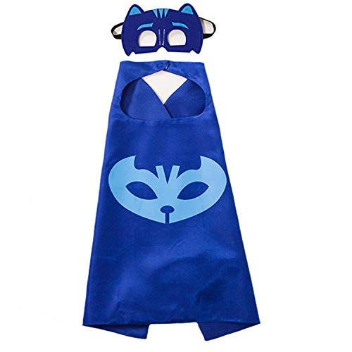 NuGeriAZ Halloween Costumes for Kids - Catboy Owlette Gekko Capes and Mask Superhero Capes for Kids (Catboy 1PCS)]()