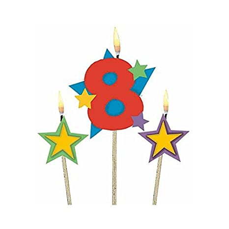 Home, Furniture & DIY Celebrations & Occasions Amscan Multi Coloured Birthday Celebration Candles 24 Candles Plus 12 Holders