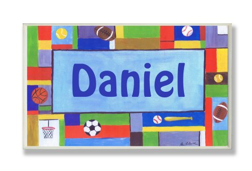 (The Kids Room by Stupell Daniel, Contemporary Sports Personalized Rectangle Wall Plaque)