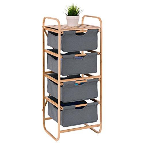 Giantex 4-Drawer Bamboo Storage Shelf Dresser Sliding Cloth Fabric for Closet, Bedroom, Entryway (4 Drawer)