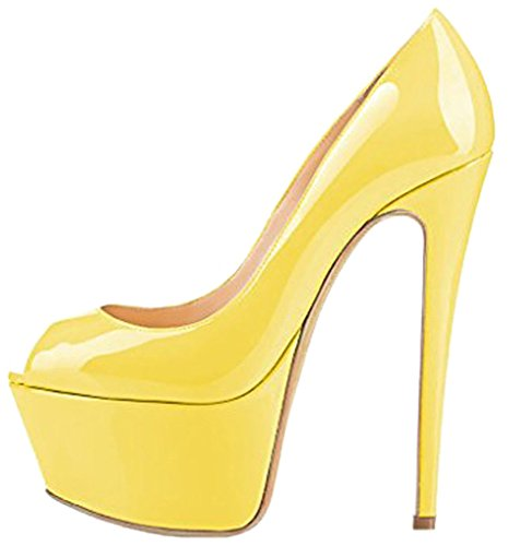 Calaier Mujer Casit Tacón De Aguja 16CM Sintético Ponerse Sandalias de vestir Zapatos Amarillo