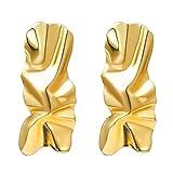WaiiMak Women's Fashion Simple Geometric Hollow Metal Temperament Irregular Earrings (Gold)