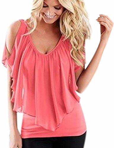 Manica Camicia Blusa Tops Casual Chiffon Fuxiang V Shirt Camicie Bluse Camicetta Corta Rosa Donna Puro Colore T Camicette Collare YI1YqWxTdw