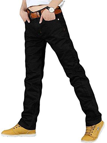 Newfacelook Designer Mens Jeans Fashion Black Denim Jeans Pants Trousers Black F-1021 W36-L34