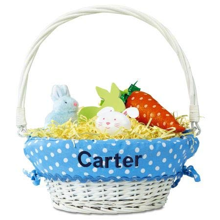 Lillian Vernon Personalized Easter Basket with Blue Liner - Name Embroidered, 11