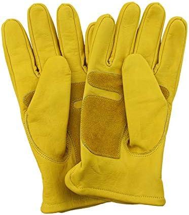 YUXINXIN 頑丈な/トラック運転/倉庫/ガーデニング/農場用の裏地なし牛革スプリットレザーワークとドライバーグローブ (Color : Yellow, Size : L)