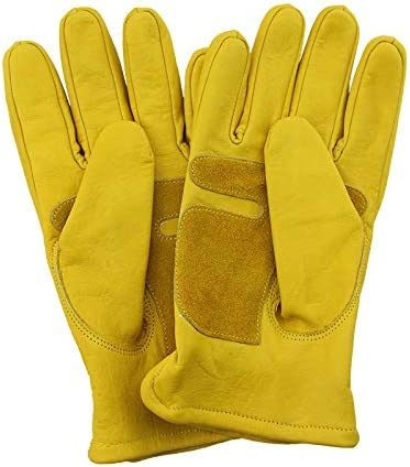 HongJie Hou 頑丈な/トラック運転/倉庫/ガーデニング/農場用の裏地なし牛革スプリットレザーワークとドライバーグローブ (Color : Yellow, Size : L)