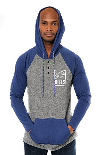 ICER Brands Adult Men Fleece Hoodie Pullover Sweatshirt Henley, Team Color, Blue, X-Large