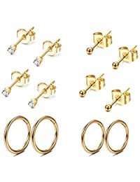 Thunaraz Stainless Steel Cartilage Earrings for Men Women Ball CZ Stud Earrings Helix Conch Daith Piercing Jewelry Set