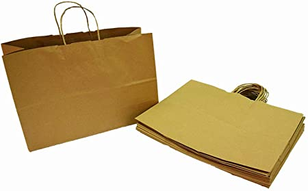 """Kraft Brown Paper Recycled Vogue Shopping Gift Bags Set 100 PC 16/"""""""