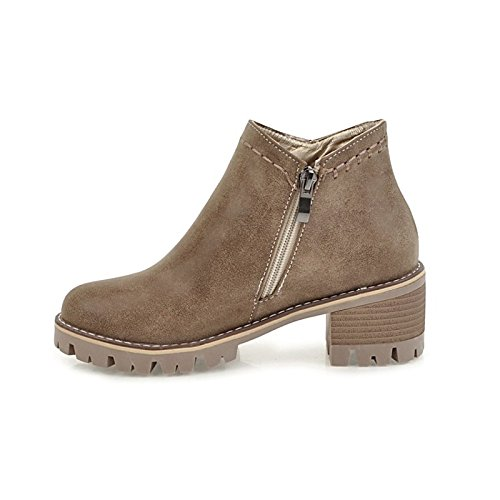 Gray for HSXZ Dress Winter Toe Khaki Boots Shoes Women's Fall ZHZNVX Low Boots Booties Leatherette Ankle Yellow Round Casual Black Fashion Heel Boots Black aqxRdfxwU