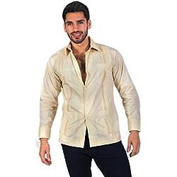 17f79ef4c2 Guayabera yucateca 100% algodón color beige talla 36 manga corta