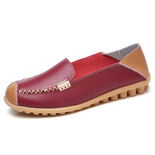 Driving Casual Walking Wine Moccasins C Slip On SCIEN Women's Red Leather Flat Loafers Shoes Slippers TwHHYq