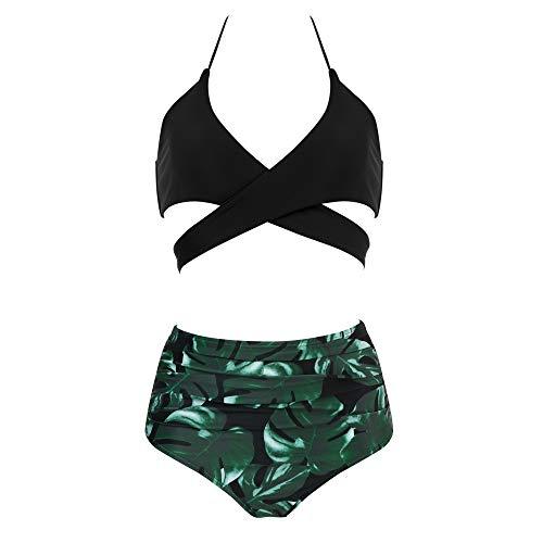 MOOSLOVER Women Sexy Halter Bikini Push-up Padded Floral 2Pcs Bathing Suits(S,Black-3)