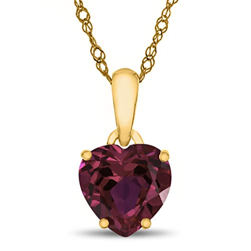 - Finejewelers 10k Yellow Gold 7mm Heart Shaped Created Ruby Pendant Necklace