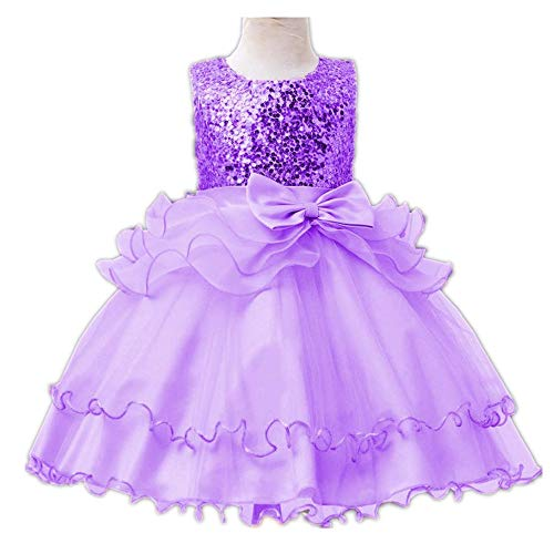 Super frist Little Girls' Sequin Mesh Flower Ball Gown Party Dress Tulle Prom Puffy Ball Gowns(Purple/120cm(5 Years)) -