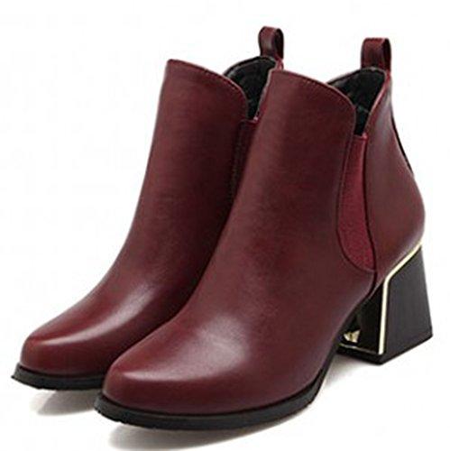 Idifu Kvinna Elegant Stretchigt Chunky Spetsiga Boots Vinröd