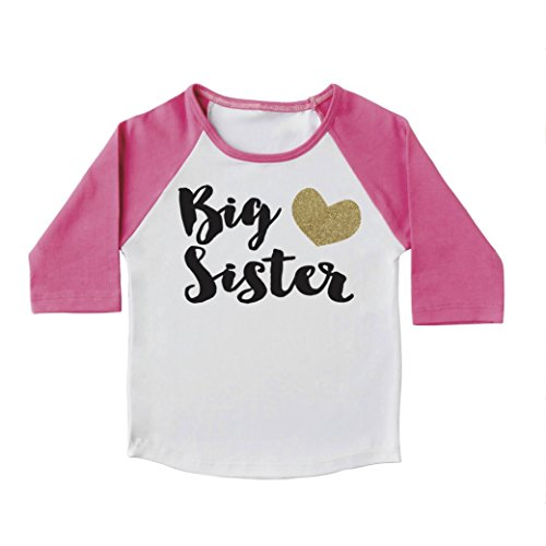 Baby Girl Clothes, Big Sister Shirt, Pregnancy Announcement Photo Prop (2T, Pink Sleeves)