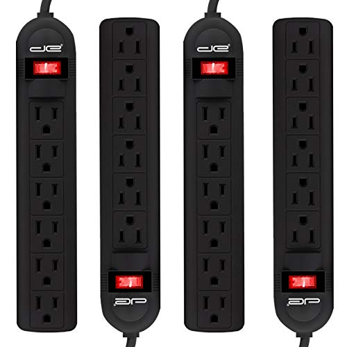 4-Pack 6 Outlet Power Strip with 3 Foot Extension Cord, Black Only $15.92