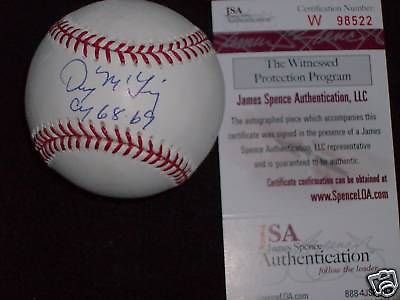 Denny McLain signed OML Baseball w/ MVP 68, JSA (Denny Mclain Baseball)