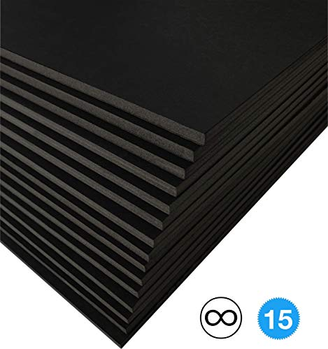 (Excelsis Design, Pack of 15, Foam Boards (Acid-Free), 20x30 Inches (Many Sizes Available), 3/16 Inch Thick Mat, Black with Black Core (Foam Core Backing Boards, Double-Sided Sheets))