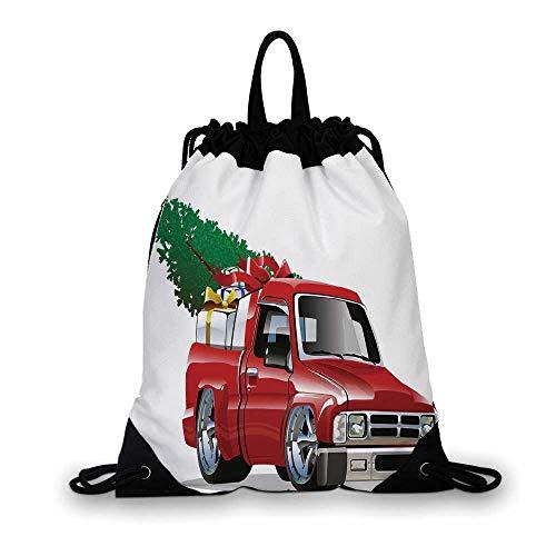 (Christmas Nice Drawstring Bag,Red Pickup Truck with Big Gift Boxes and Tree Xmas Art Prints Farm Motor Theme For hiking,7.4