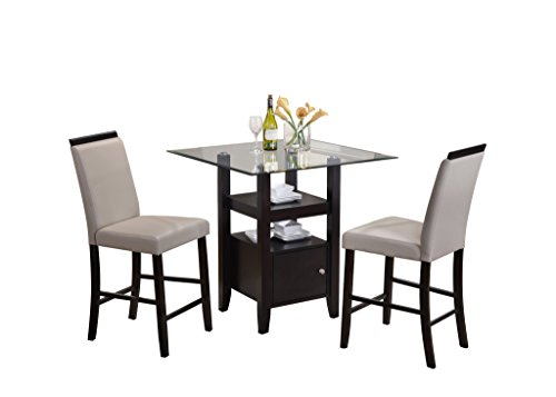 Kings Brand 3 Piece Cappuccino & Glass Counter Height Dinette Set, Table & 2 Chairs (Grey)