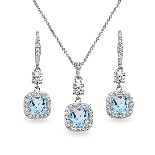 - Sterling Silver Blue Topaz Cushion-Cut Halo Dangle Leverback Earrings & Pendant Necklace Set