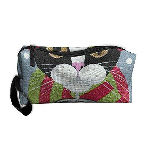 King Fong Christmas Cat Makeup Bag Men/Women, Travel Toiletry Bag, Oxford Pencil -