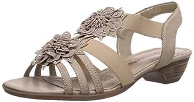 Remonte R0864 - Sandalias de vestir de cuero para mujer, color beige, talla 42
