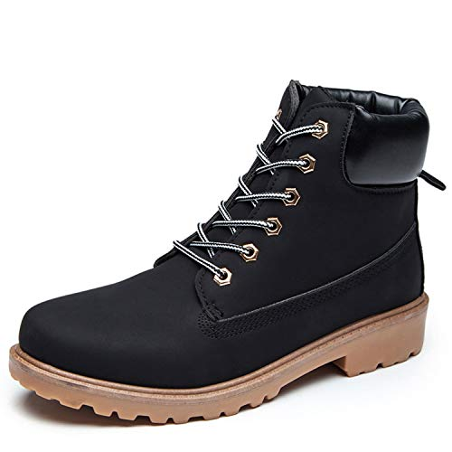 Round Boots Toe Waterproof Black Leather Work MARITONY Rubber Mens Reinforce Ankle Boots UpwWU1fCq4