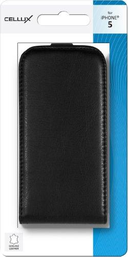 Cellux Echtleder Klapptasche für Apple iPhone 5/5S schwarz