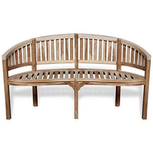(MAREEYA SHOP Teak Patio Bench Banana Shape Wooden Garden Chair Seat Seater Furniture Outdoor 2-Seater Patio Park Chair)