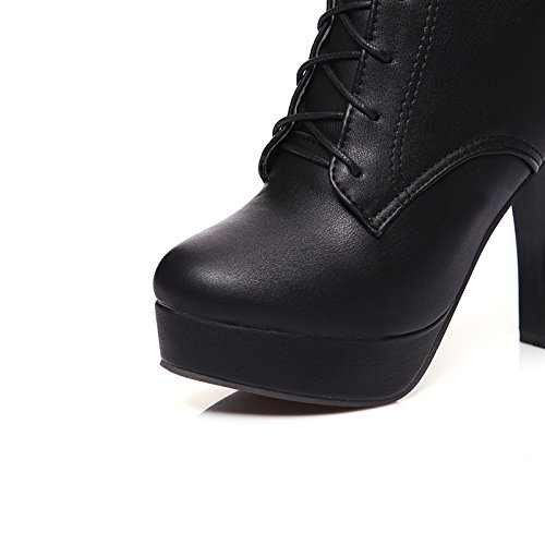 for Fall Toe Calf Mid Stiletto Booties Black Boots PU Bootie ZHZNVX Women's Fashion Leatherette Round Ankle Boots Boots Buckle Winter Heel HSXZ Shoes Boots Yq6wqSB