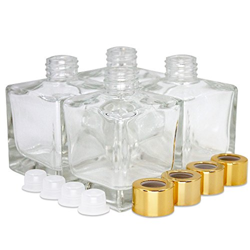 Feel Fragrance ™'s Large Square Glass Diffuser Bottles Set of 4 - 3.7