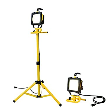 All-Pro LED Portable Worklight with Telescoping Tripod, 46-Inch, 300-watt Equivalent, 2600 Lumens, Yellow