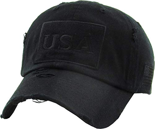 KBVT-210 BLK Tactical Operator with USA Flag Patch US Army Military Baseball Cap Adjustable (Distressed Patch)