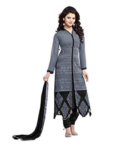 886bfdb2544 Hans Dress Grey color pure georgette embroidery designer dress material   Amazon.in  Clothing   Accessories