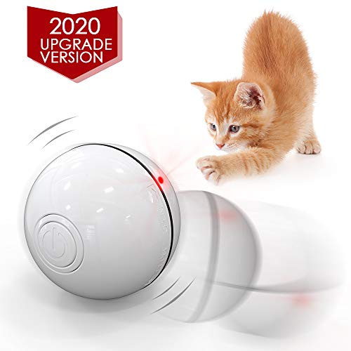 DELOMO Smart Interactive Cat Toy Ball, Automatic Rolling Ball, USB Rechargeable Cat Light Toy, 360 Degree Self Rotating Ball with Spinning Light, 2019 Upgraded Cat Exercise Chaser Toy 2