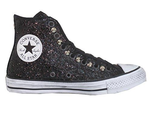 Converse all star Glitter nero borchie (prodotto artigianale )