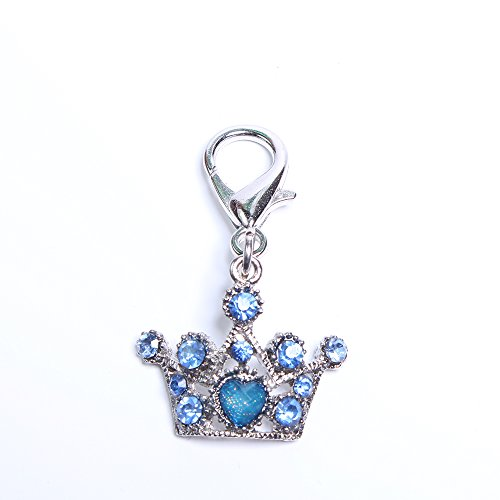 SKS PET Dog Cat Bling Crown Rhinestones Charm Pendant Pet Puppy Necklace Collar Jewelry Accessory (Blue)