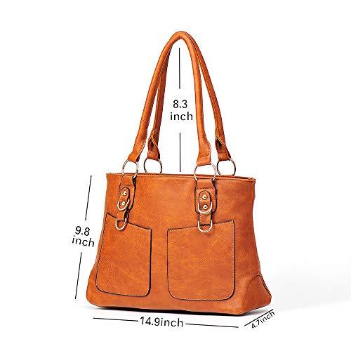 Brown Womens and Leather Shoulder Tote Bags Bag PU Purses Ladies Handbags vrvwO